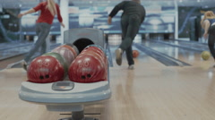 Group of people playing bowling game - stock footage