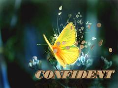 CONFIDENT   Bright word, Bright beautiful moth or butterfly on fairy tale bac - stock illustration