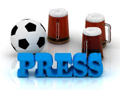 PRESS bright word, football, 3 cup beer on white background Stock Illustration