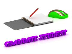 GRADUATE STUDENT  inscription bright volume letter and textbooks and computer Stock Illustration