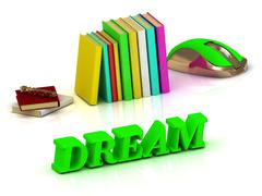 DREAM  inscription bright volume letter and textbooks and computer mouse on w Stock Illustration