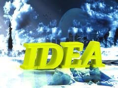 IDEA  bright word, night sky, town, moon, winter on white background - stock illustration