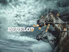 DEVELOP  Bright word, Black horse and blackenning horsy on background sky and Stock Illustration