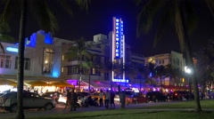 Miami Spring Break ocean drive at night - stock footage