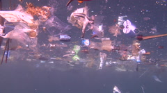 Ocean scenery rubbish and pollution, lots of floating plastic, environmental, Stock Footage