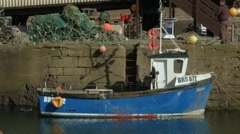 Panning out of scene at St Abbs harbour, Scottish Borders Stock Footage