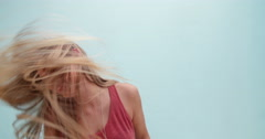 Stock Video Footage of Cute teenage girl with long flowing hair dancing