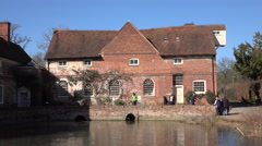 Flatford England historic river mill tourism 4K Stock Footage