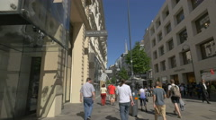 Walking by Swarovski and Peek&Cloppenburg stores on Kärntner Straße, Vienna Stock Footage