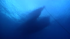 Ocean scenery ship and anchor chain, hull, on boat on the surface, HD, UP24635 - stock footage