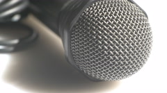 Macro view of a handheld microphone Stock Footage