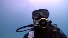 Male model scuba diver looking around in Australia, HD, UP24700 Stock Footage