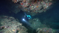 Group of scuba divers swimming in cavern in Australia, HD, UP24882 Stock Footage