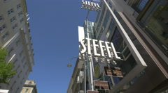 Low angle view of Steffl department store on Kärntner Straße in Vienna Stock Footage