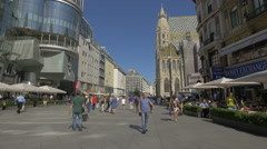 Relaxing at Aida pastry and walking in Stephansplatz, Vienna Stock Footage