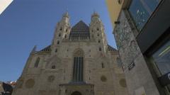 St. Stephen's Cathedral seen from Jasomirgottstraße in Vienna Stock Footage
