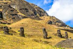 Moai at the Rano Raraku Quarry Stock Photos