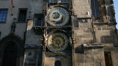 Famous Astronomical Clock in the Prague old Town Hall Stock Footage