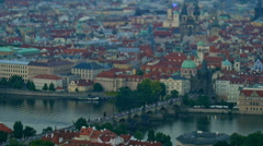 Aerial view of Charles bridge with miniature effect Stock Footage