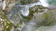 Closeup view to the water stream of mountain river in Austrian alps Stock Footage