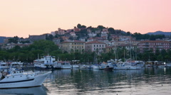 Group of sailing ships in the La Spezia harbor at evening in Laguria, Italy Stock Footage