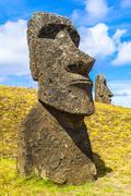 Polynesian Stone Statue at the Rapa Nui National Park Stock Photos