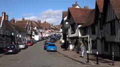 Lavenham England busy traffic village main street 4K Stock Footage