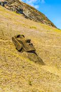 Moai at the hill of Rano Raraku Stock Photos