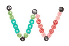 letter W made of colors buttons - stock photo