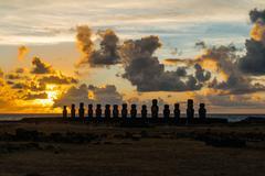 Ahu Tongariki at sunrise - stock photo
