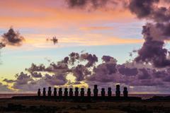 Moai at Ahu Tongariki in early morning Stock Photos
