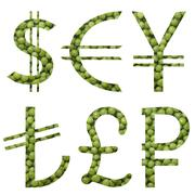 world money signs set made of cut green peas - stock photo