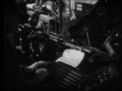 Montage of workers operating printing press,1950s Stock Footage