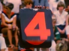 Down marker changed to fourth down at high school football game, 1980s - stock footage