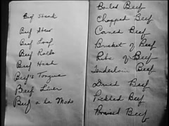Closeup of opened notebook with list of beef dishes, 1940s Stock Footage