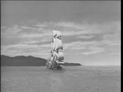 17th century reenactment of ship sailing on open sea - stock footage