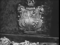 Coat of arms on treasure chest filled with jewels. 1940s Stock Footage
