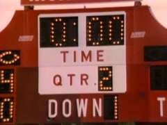 Stock Video Footage of Zoom out scoreboard on sports field, 1980s