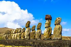 Standing Moai at Ahu Tongariki - stock photo