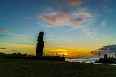 Standing Moai at sunset Stock Photos