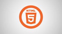 4K - HTML5 icon symbol round logo - stock footage