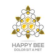 Logo beehive sweet natural and honeycomb design vector - stock illustration