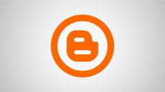 4K - Blogger icon symbol round logo - stock footage