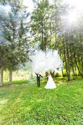 Wedding, love, relationships, marriage. Smiling bride and groom with blue smoke Stock Photos