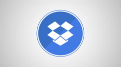 4K - Dropbox icon symbol round logo Stock Footage