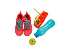Top view sport equipment. Healthy life and healthy food concept Stock Photos