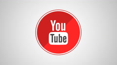 4K - Youtube icon symbol round logo Stock Footage