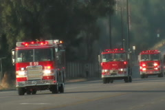 4 Fire Trucks Emergency Stock Footage