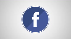 4K - Facebook icon symbol round logo Stock Footage