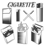 Vector set cigarette, lighter and pack of cigarettes. Smoking objects in - stock illustration